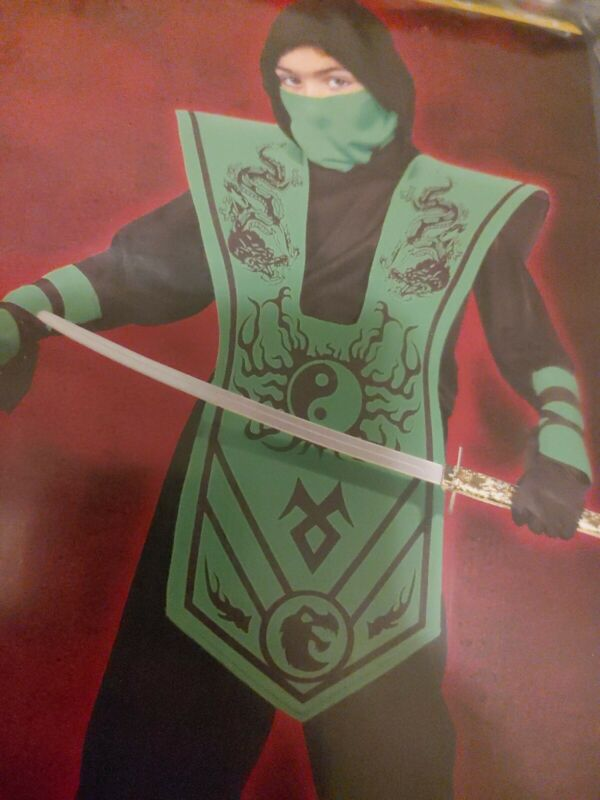 Complete Ninja Costume Set Halloween Martial Karate Kids Green Black 10 12 L NEW
