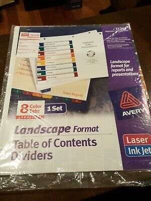 Avery Landscape 8 Color Tabs 1 Set Table Of Contents Dividers 11261