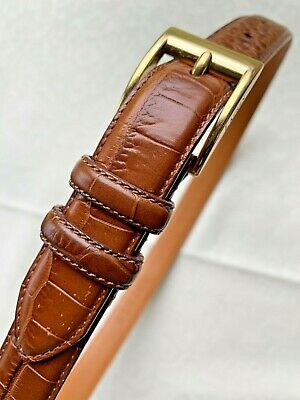 Ralph Lauren Brown Genuine Italian Leather Alligator Style Size M Women's Belt