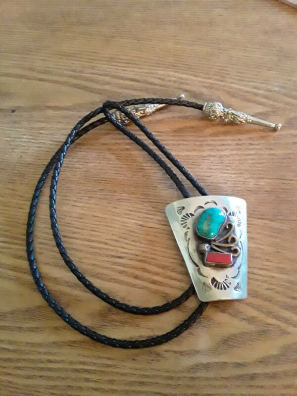 Bennett Bolo Tie turquoise Coral