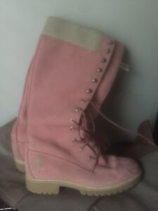 Size 7 adidas and timberland boots pink
