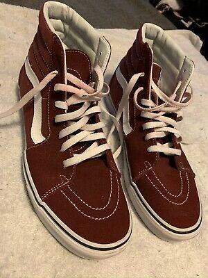 Vans Sk8 Hi Maroon Red Skateboard High Top Classic Shoes Size 10.5 Mens