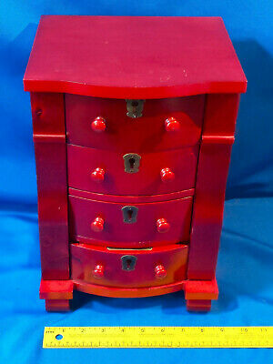 Large Jewelry Box Chest Dresser Trunk 4 Drawer Mirror Flip-Top Side Door Hangers Dresser Top Jewelry Chest