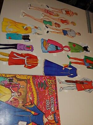 """1964 HTF BARBIE """"COSTUME DOLLS"""" PAPER DOLLS ~ USED BUT BRIGHT COLORS ~"""