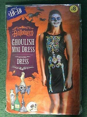 HALLOWEEN FANCY DRESS - GHOULISH MINI DRESS - ADULT SIZE -