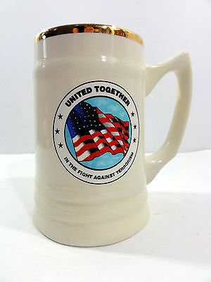 UNITED TOGETHER * IN THE FIGHT AGAINST TERRORISM Porcelain Mug w Gold (Fight Against Terrorism In The United States)