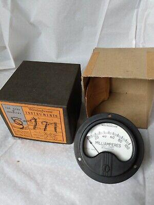 Vintage Westinghouse Electrical Meter Gauge Milliamperes 0-100 Ox-33 1164137 Box