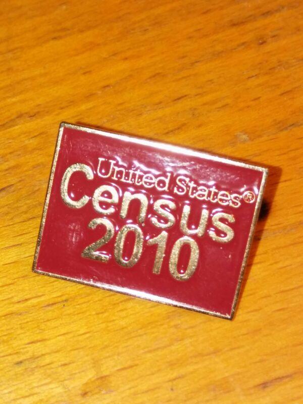 United States Census 2010 Gold Tone Metal Burgandy Lapel Pin Pinback Goverment