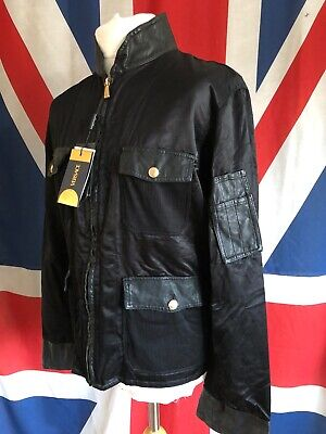 VERSACE ALIAS 312580 NEW OLD STOCK BLACK RAYON & LEATHER JACKET SIZE 52 - BNWT
