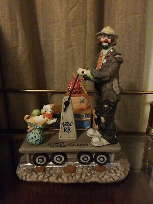 EMMETT KELLY JR Porcelain Figurine Economy Class Clown Decor Large Circus