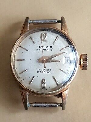 Vintage Tressa Ladies Automatic 25 Jewels Incabloc Day Date Watch - Working