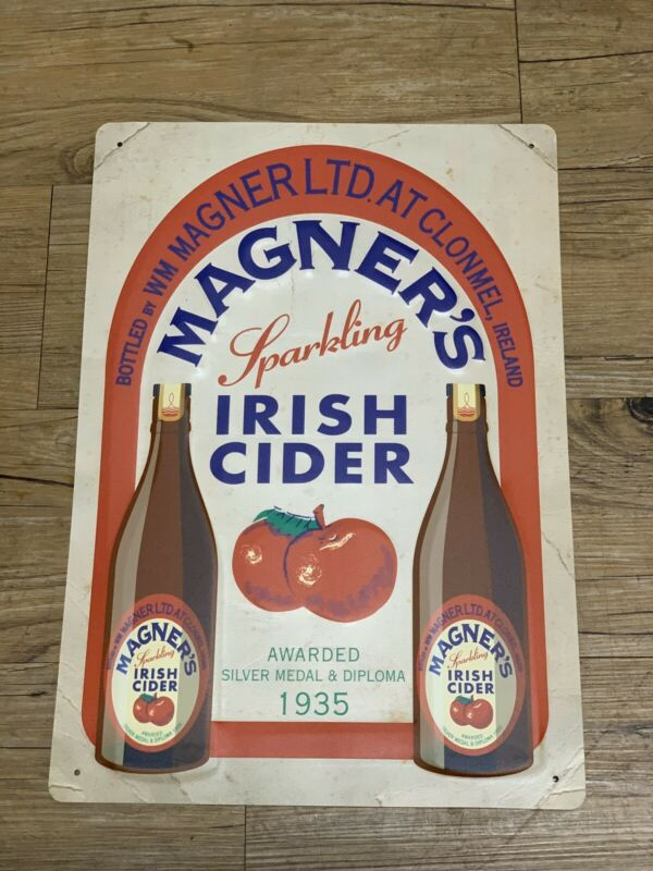 "MAGNER'S Vintage IRISH APPLE CIDER TIN SIGN 16.5"" X 11.5"" New! Rare HTF"