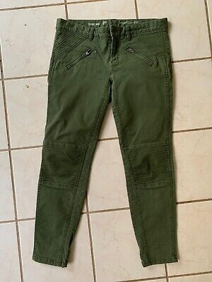 KHAKIS BY GAP Olive Skinny Mini Moto Style Zipper Pocket Stretch Jeans Sz 4