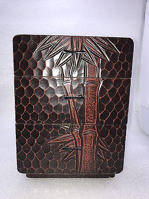B2 Japanese Wood Lacquer Kamakura Carving 3 Drawers Storage Box Bamboo (Bamboo Design 3 Drawer)