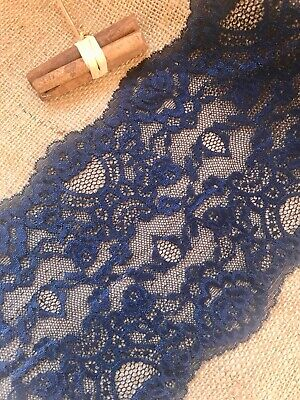 Navy Blue Soft Stretch Lace Wide 6.75