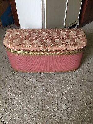 Vintage Original PINK Loom Storage Blanket Box Lloyd Double Seat Stool  13/1/F