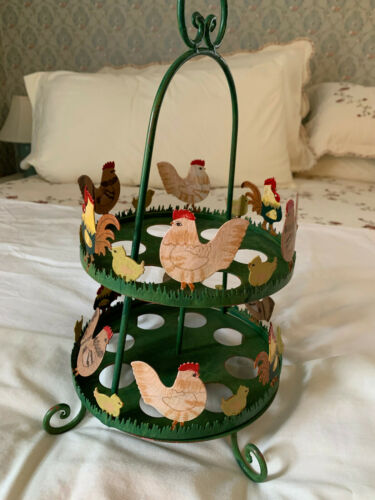 EASTER METAL 2 TIER EGG HOLDER WITH ROOSTER, CHICKEN, CHICKS