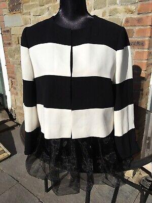 Iblues Max Mara Breton Size 16 Smart Black Ivory Stripe Dress Jacket