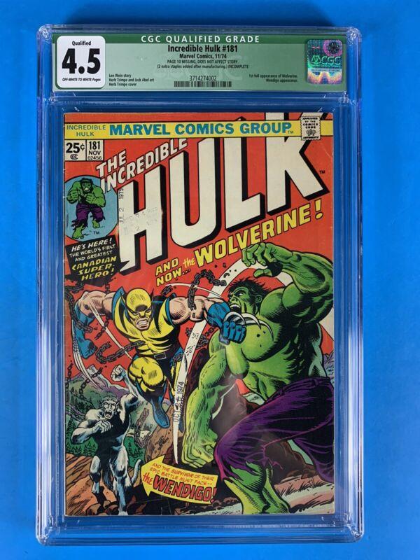 The Incredible Hulk #181 CGC 4.0 Qualified 🔥🔥🔥