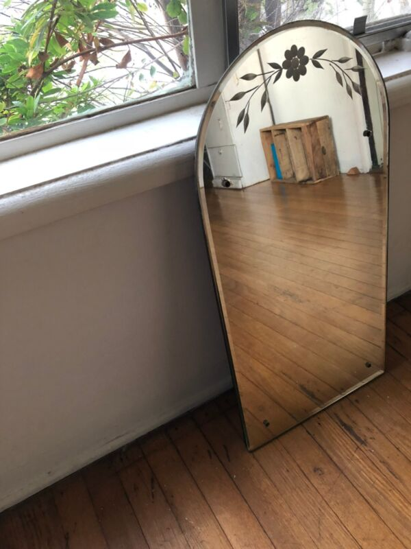 Mid Century Etched Mirror