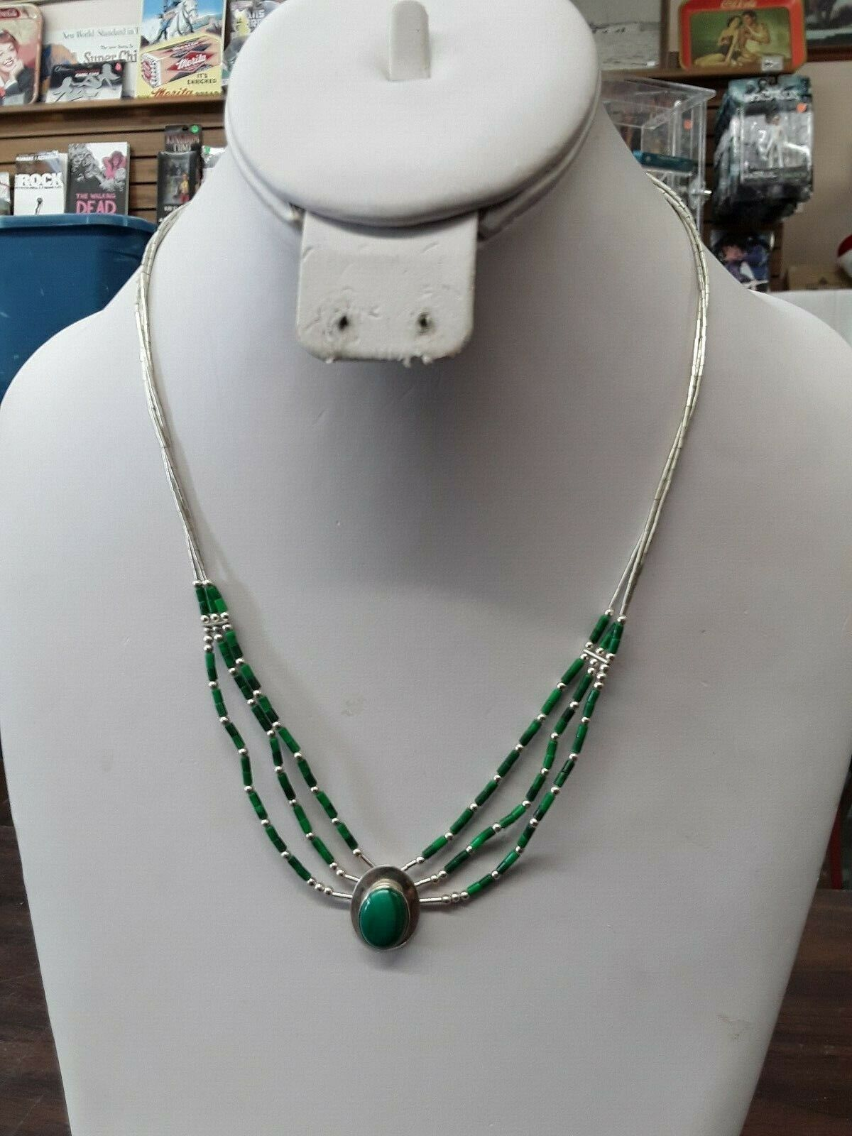 Ella Peter Sterling Silver And Malachite 3 Strand Necklace 19.5 Inches - $35.00