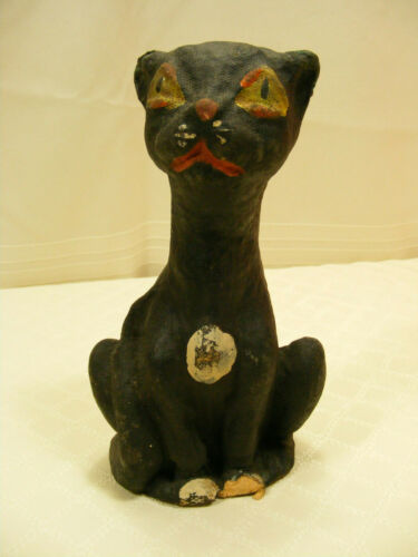 Vintage Halloween Black Cat Paper Mache Candy Container 7""