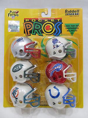 Riddell Afc Pocket - Riddell Sports Pocket Pros w/ Patriots Throwback Helmet 6 Pack AFC East NIP