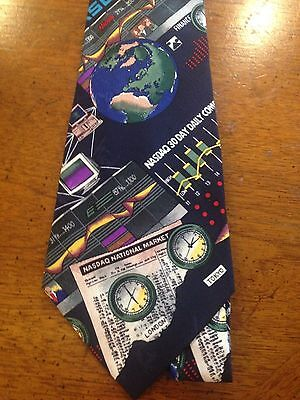Neck Tie Stock Broker 4X57 Hand Sewn Silk Nasdaq New York Exchange Vintage 1995