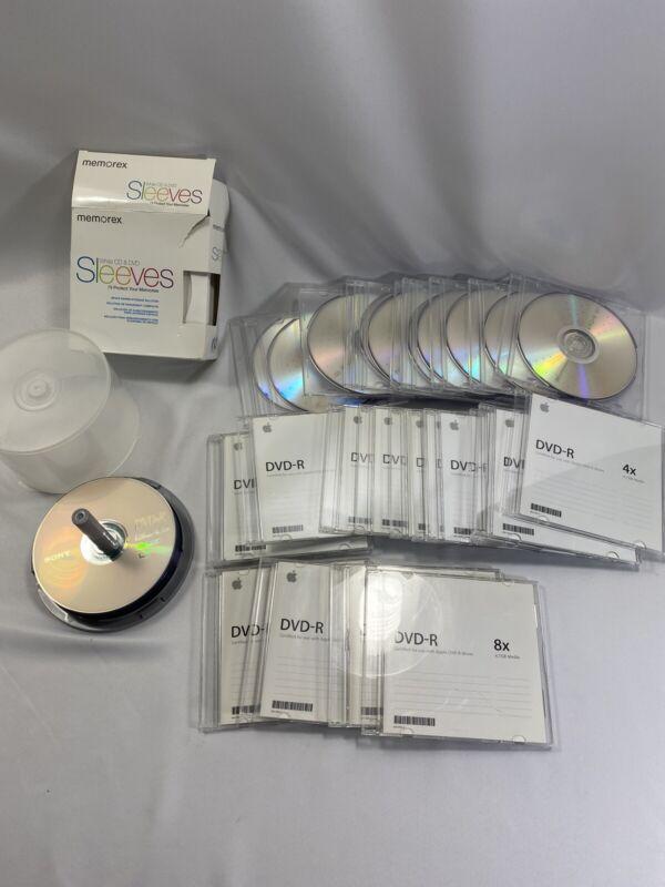 DVD R lot 16x 8x 4x 40 DVDs sleeves jewel cases Sony Apple Memorex