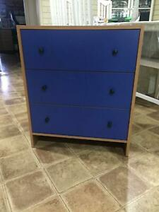 Blue Wooden Chest Of Drawers Unit (furniture/home decor)