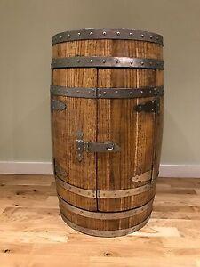Oak Barrel Wine Rack Drinks Bar Cabinet