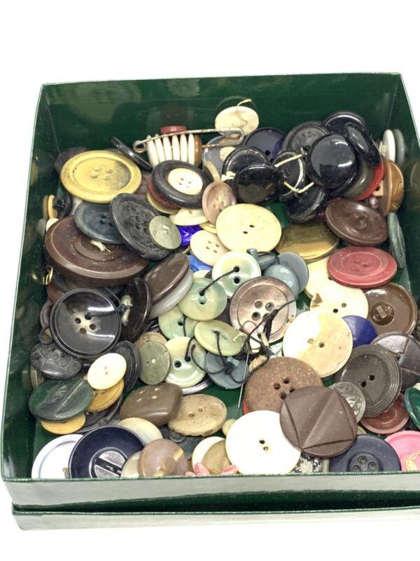 Vintage Lot of Plastic, Bakelite, Glass, Brass Button Lot