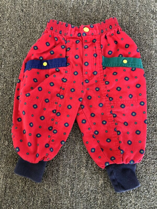 Vintage Gymboree Toddler Boys Girls Red Green Blue Bubble Pants XS Fits 12-18M