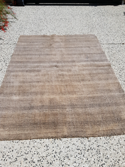 Brown striped  rug