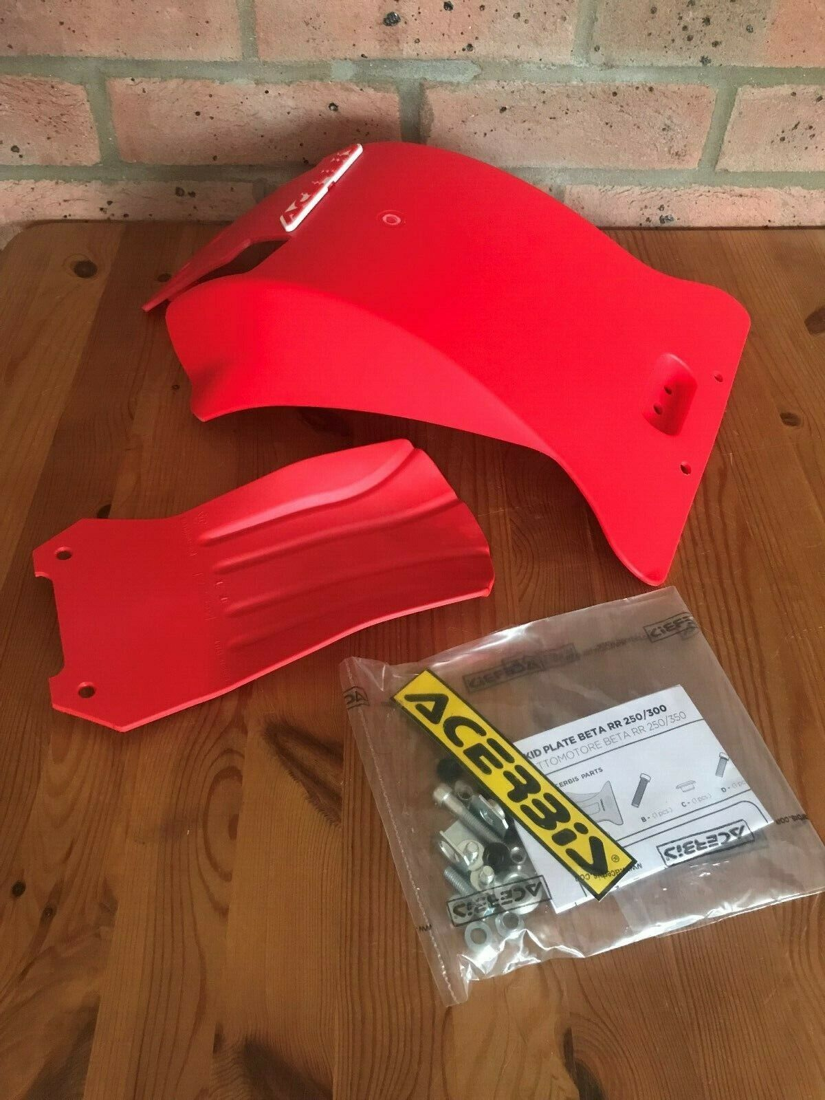 BETA RR RACING 250 300 2018- 2019 ACERBIS SKID GLIDE PLATE SUMP GUARD RED