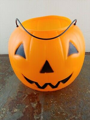 Vintage Halloween Pumpkin Plastic Blow Mold Trick or Treat Candy Pail Bucket VTG