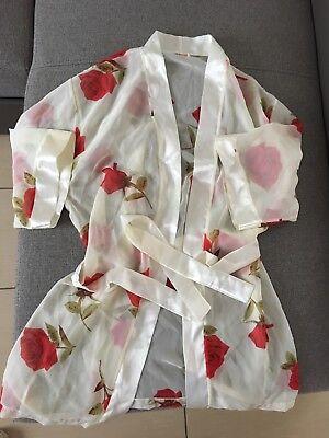 Nachtmantel Negligee Kimono rote Rosen Gr.S