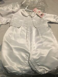 Brand new christening / baptism one piece with hat