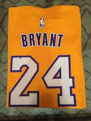 Kobe Bryant  24 Lakers Nwt Adidas Net Number T Shirt Nba  New  Gold