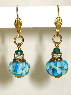 Turquoise Lampwork Glass Earrings Encased Flower Bead Drops Swarovski -