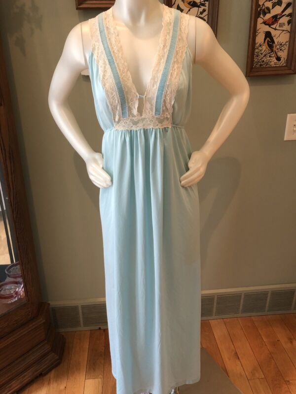 Komar Vintage Long Aquamarine Night Gown Average L-XL