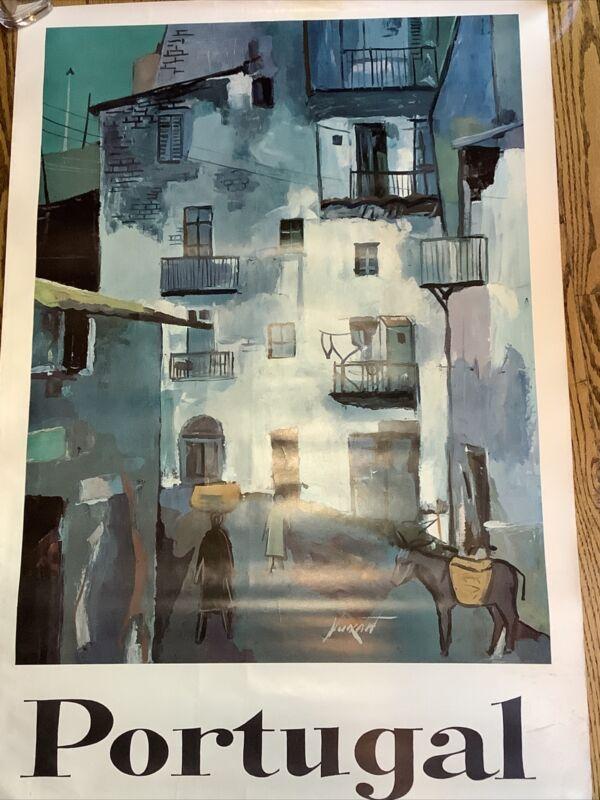 c.1960s Portugal Travel Poster Print Vintage Original 38x26 Portuguese Street