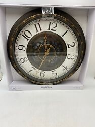 """Sterling & Noble Large Gear Wall Analog Kitchen Clock Bronze Plastic Frame 15.5"""""""