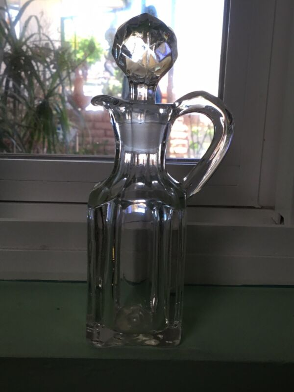 VINTAGE CLEAR CRYSTAL CRUET WITH STOPPER