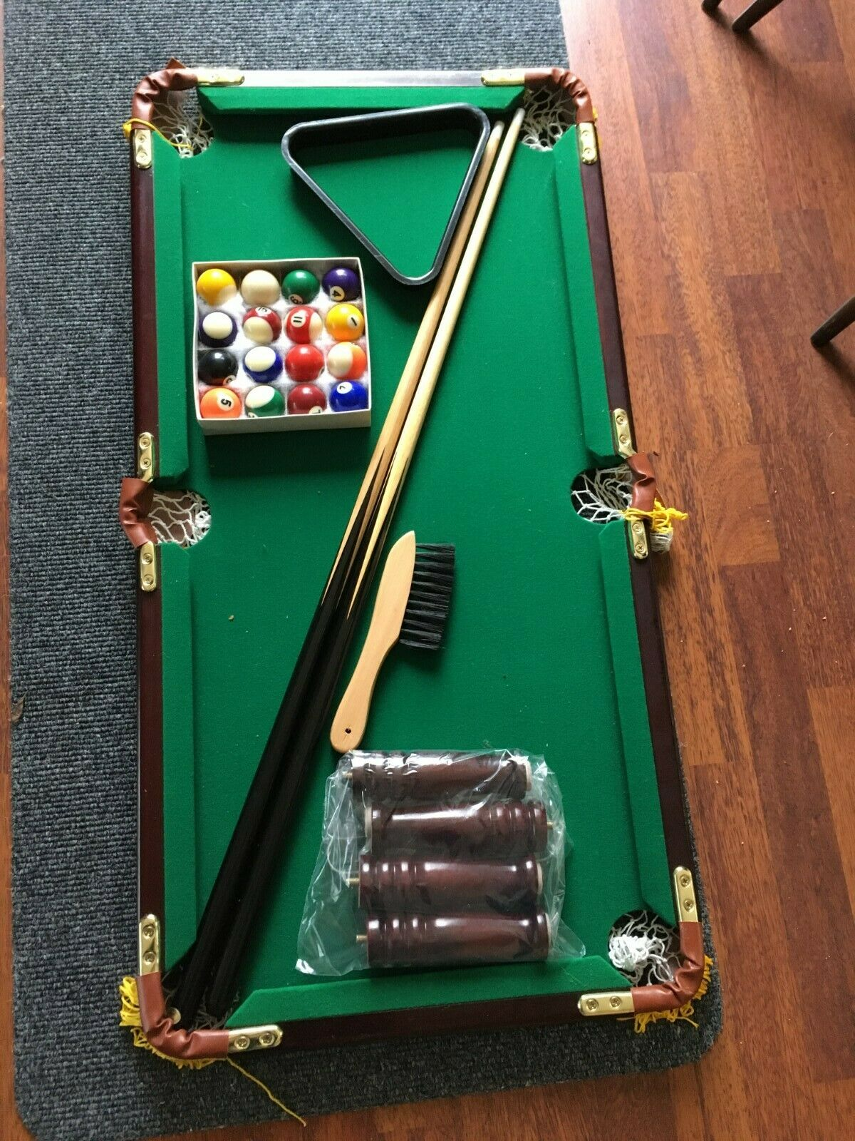Table Top Pool Table with balls, cues etc....