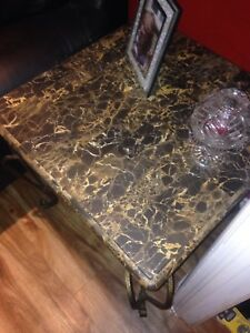 Two marble end tables