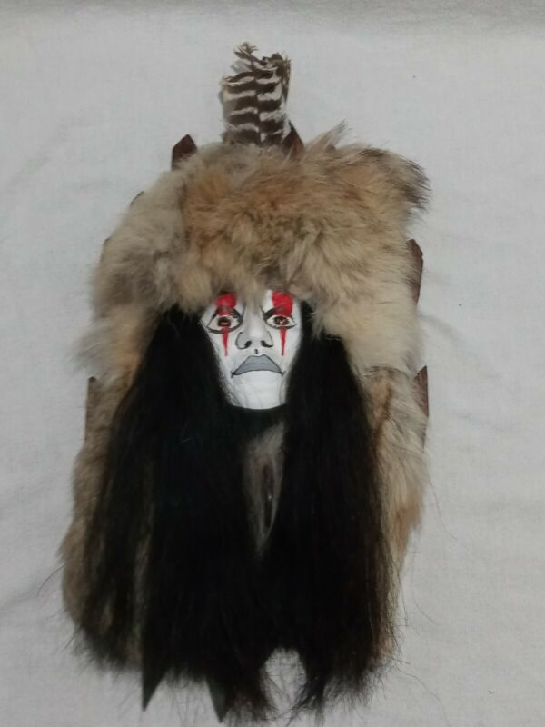 Vintage Native American Spirit Mask Wall Hanging Face Plaster Feathered Fur Head