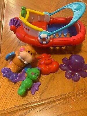 Fisher Price Amazing Animals Tubtime Tugboat Bath Boat Walrus Seahorse Octopus