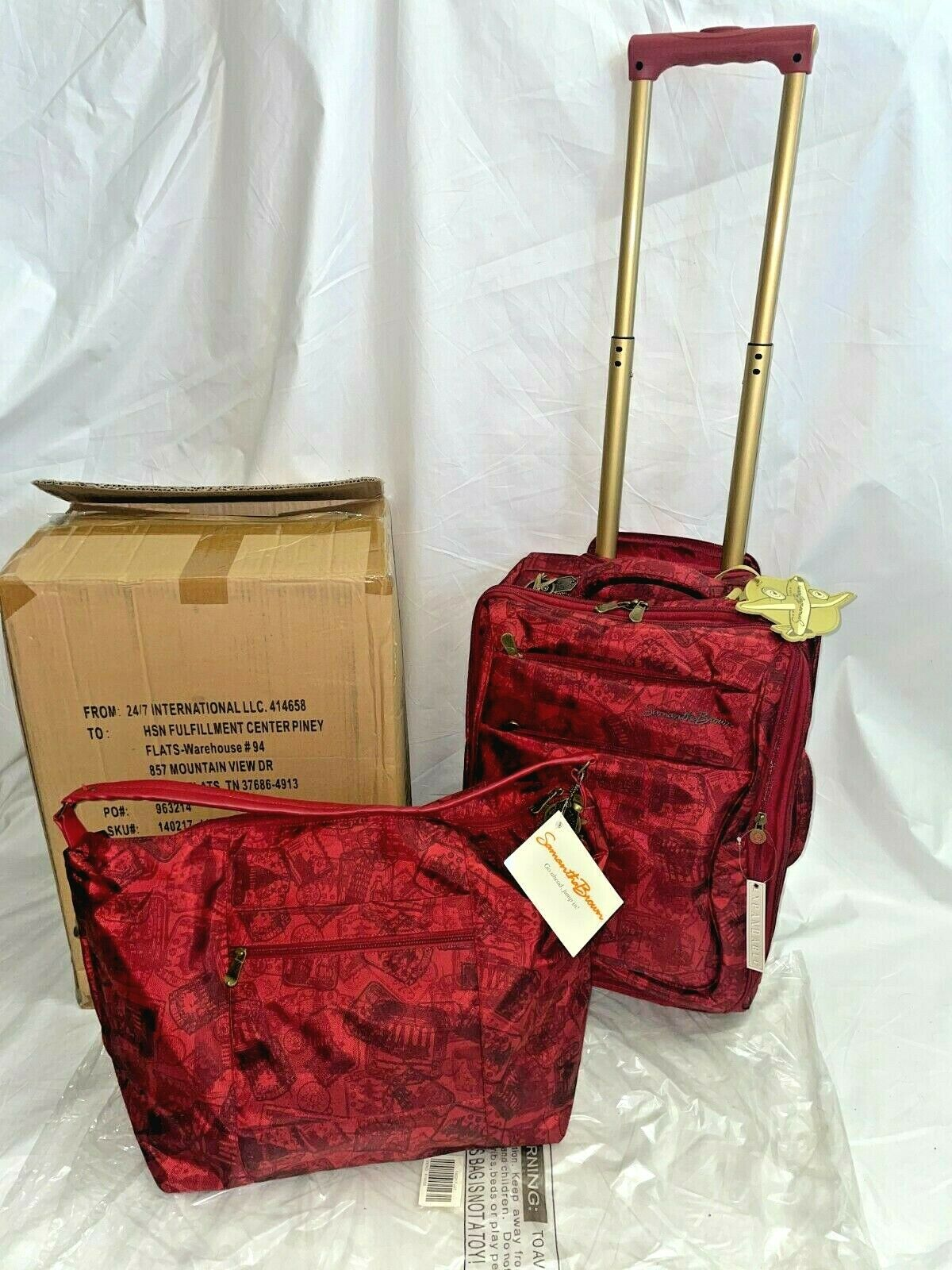 New Samantha Brown 2Pc Casual Travel Luggage Set 20 Upright Carry-On Bag Red - $99.95