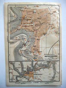 stampa antica old antique print map Germany Rothenburg ob der tauber 1914 - Italia - L'oggetto può essere restituito - Italia